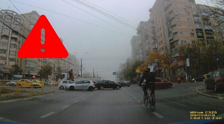 Biciclist inconştient – Trafic Bucureşti